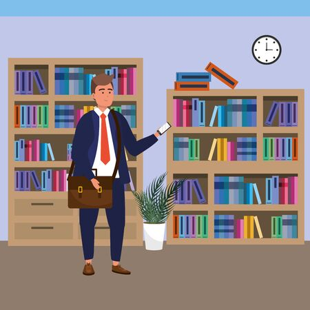 Millennial student man wearing suit and tie using smartphone texting on library background colorful bookstand vector illustration graphic design Ilustracja