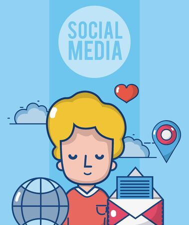 Boy with social media and network symbols cartoons vector illustration graphic design