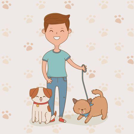 young man with cute dogs mascots vector illustration design Ilustração