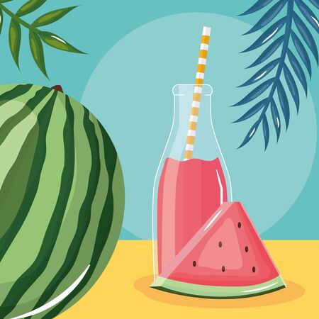 fresh watermelon juice fruit in botttle with straw in leafs palms Ilustrace
