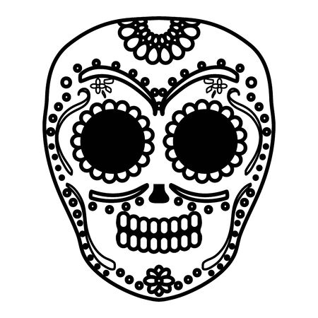 mexican skull death mask vector illustration design Vetores