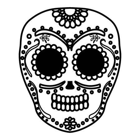 mexikanischer Schädel Totenmaske Vektor-Illustration Design Vektorgrafik