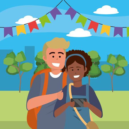 Millennial couple afro woman and blond man using smartphone taking selfie outdoors park background vector illustration graphic design