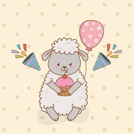 birthday card with cute sheep woodland vector illustration design