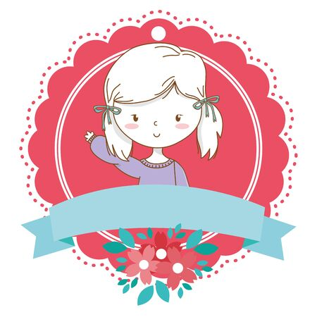Cute girl cartoon stylish hairstyle nice outfit clothes blushing sweater and shorts waving hello portrait floral bloom frame ribbon banner vector illustration graphic design