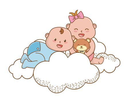 baby shower happy babies with teddy between clouds cartoon card isolated vector illustration graphic design