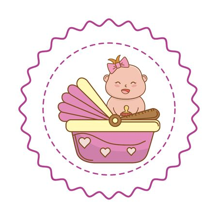Baby shower happy girl baby with bow in pink basket cartoons in round label stamp vector illustration graphic design Stock Illustratie