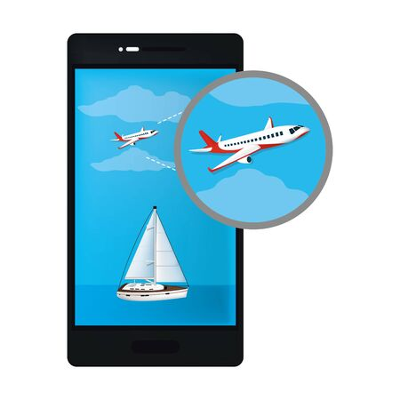 smartphone technology with airplane and sailboat transports vector illustration