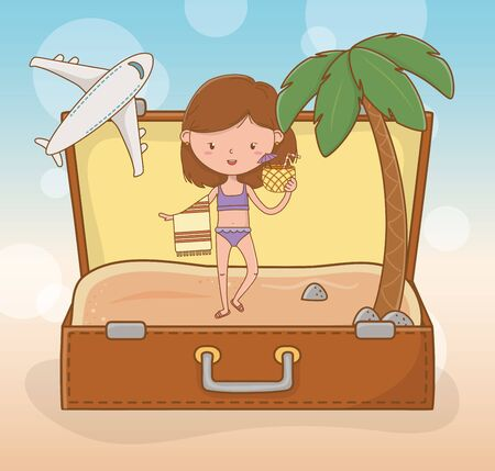 young girl in suitcase on the beach scene vector illustration design