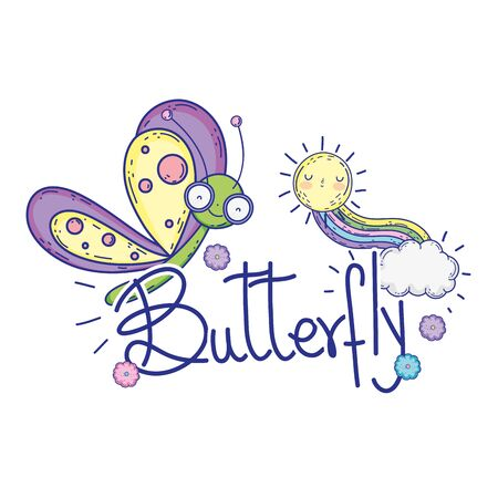 beautiful butterfly with calligraphy character vector illustration design