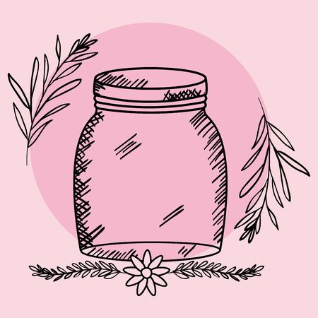 mason jar glass with lid and flowers drawing vector illustration design