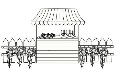wooden market stall farm scene festive cartoon vector illustration graphic design