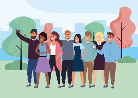 Millennial group using smartphone taking selfie posing together smiling happy sweater beard blonde hoodie afro redhead outdoors park background cityscape vector illustration graphic design