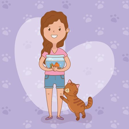 young woman with cute cat and fish vector illustration design