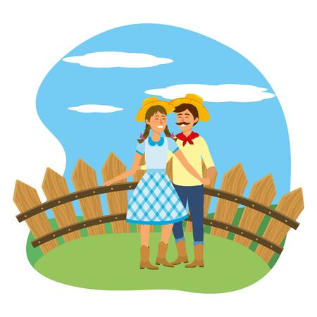 festa junina brazil party festival june celebration couple with traditional elements cartoon vector illustration graphic design