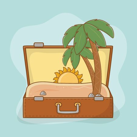 suitcase bag with beach scene vector illustration design