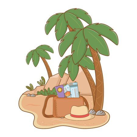landscape beach on sand with suitcase hat sunscreen and tickets summer and travel vector illustration editable design