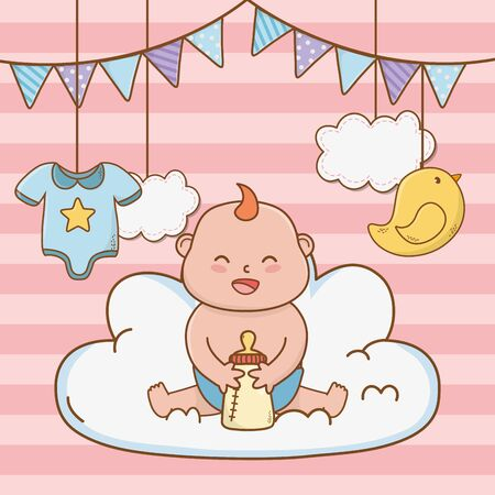 cute baby shower little baby with elements cartoon vector illustration graphic design Ilustracja