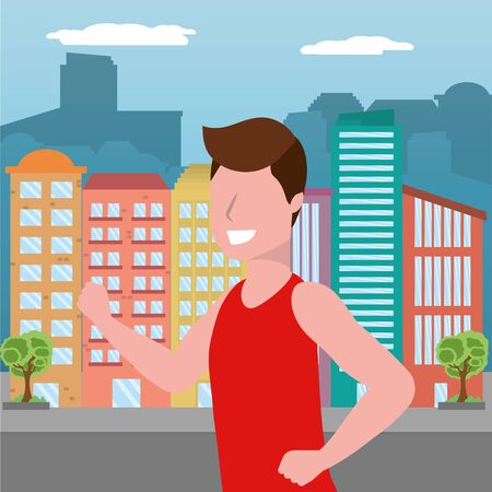 fitness sport train cartoon Stock Illustratie