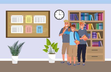 Millennial-Gruppe zum Hintergrund des Arbeitszimmers Vektorgrafik