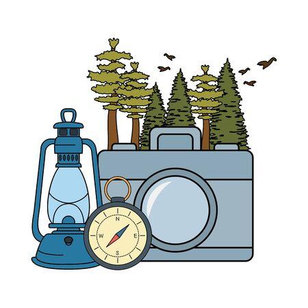 compass guidewith camera and kerosene lamp vector illustration design