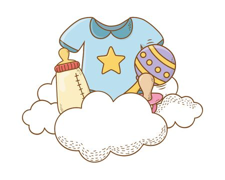 baby shower bodysuit, bottle, maraca, pacifier on clouds cartoon card isolated vector illustration graphic design