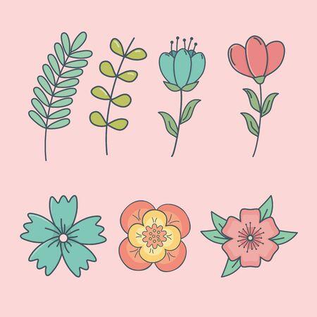 set of flowers decorative icons vector illustration design Stock Illustratie