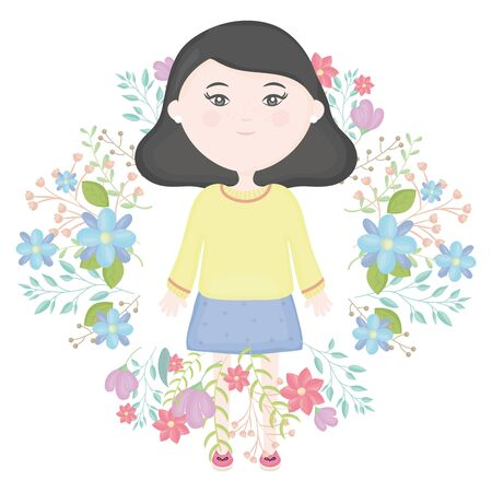cute little girl with floral wreath character vector illustration design