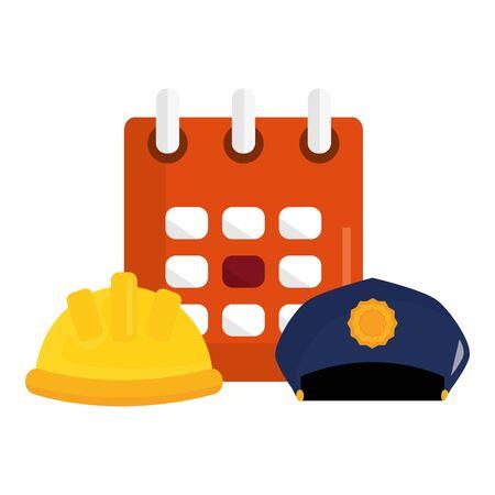 builder helmet with calendar and police cap Ilustracja