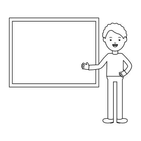 young male teacher with chalkboard Ilustracja
