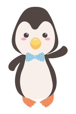 Penguin cartoon with bowtie design