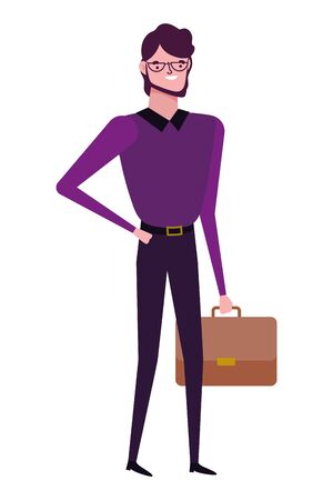 Businessman with suitcase design, Man business management corporate job occupation and worker theme Vector illustration Çizim