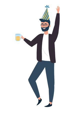 Man cartoon with hat design, happy birthday celebration decoration party festive and surprise theme Vector illustration