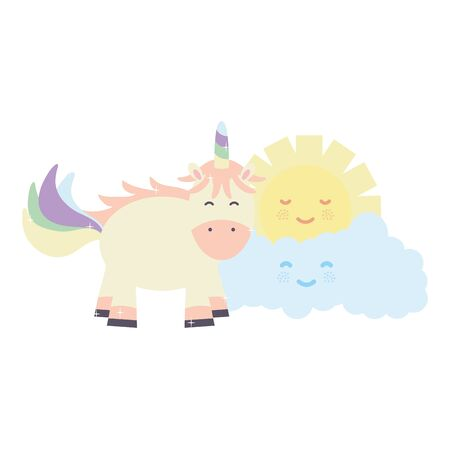 cute adorable unicorn with clouds and sun characters Çizim