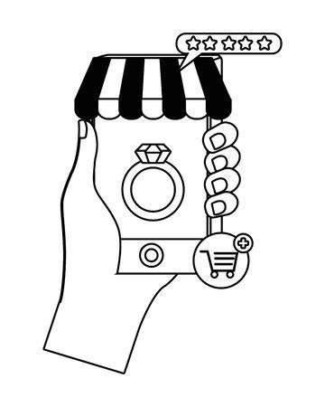 Hand holding smartphone design Иллюстрация
