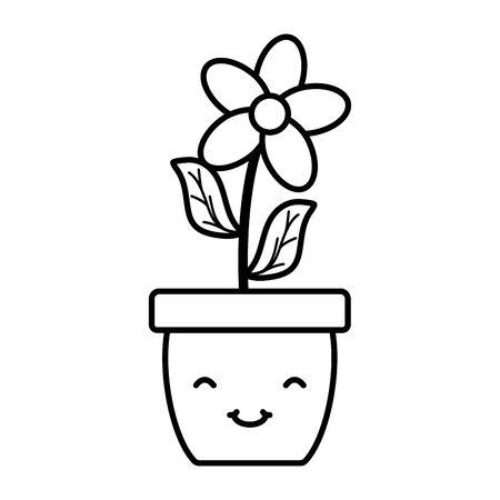 garden flower in pot character