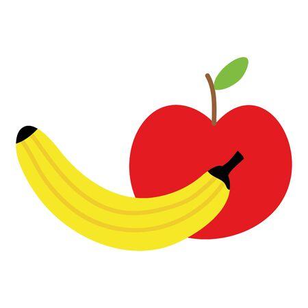 fresh banana and apple fruits Illustration