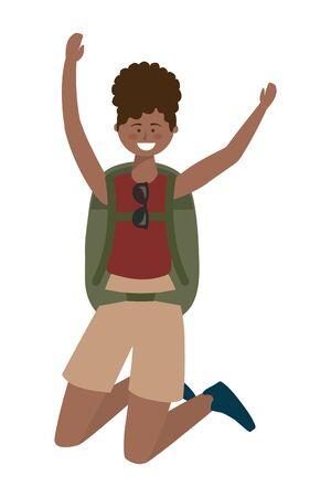 Tourist girl cartoon with bag design Çizim