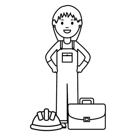 female builder worker with helmet and portfolio