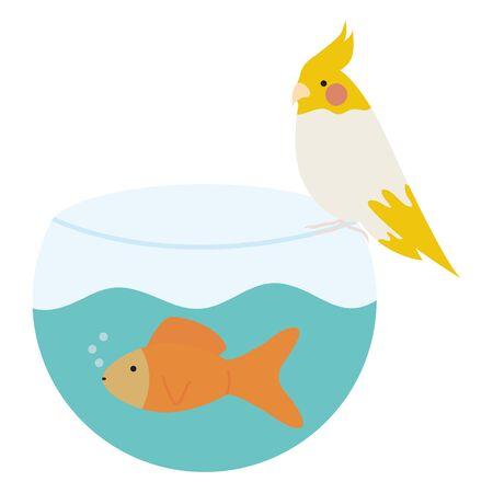 cute ornamental fish in aquarium with bird  イラスト・ベクター素材