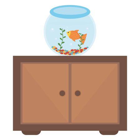 fish pet in aquarium over drawer