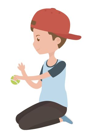 Teenager boy cartoon with tennis ball design