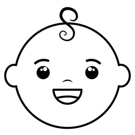 cute little baby boy head character  イラスト・ベクター素材