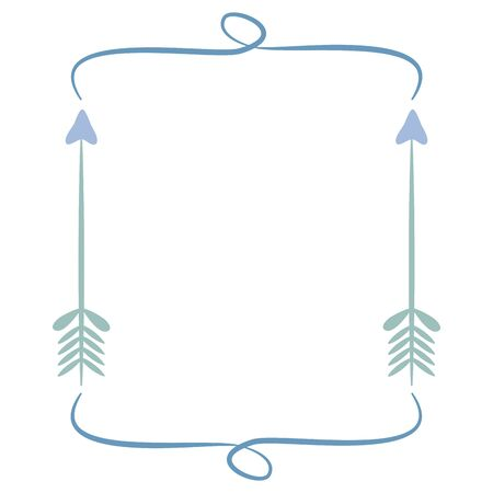 square frame with indian arrows boho style  イラスト・ベクター素材