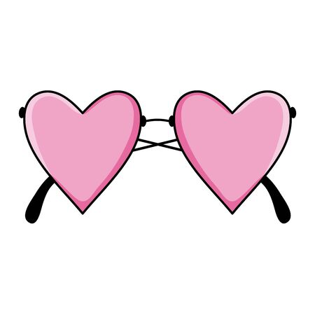 fashion glasses with hearts love shape