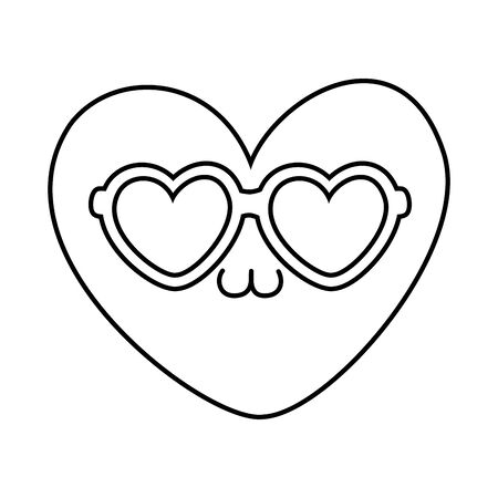 heart with sunglasses black and white