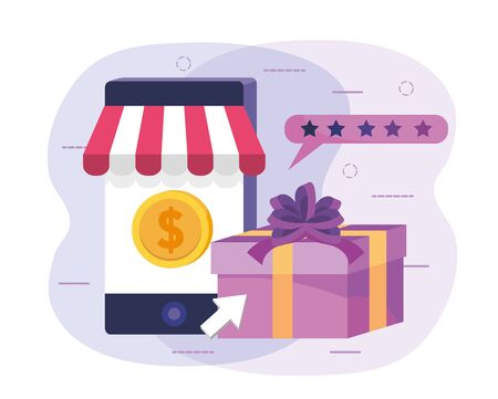 smartphone ecommerce technology with coin and present gift Иллюстрация