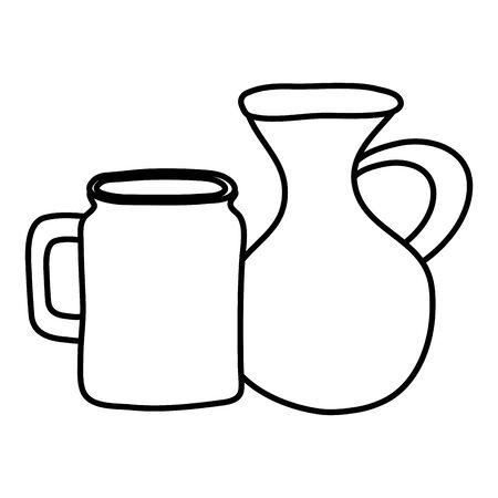 jars canteens pots isolated icons Illusztráció