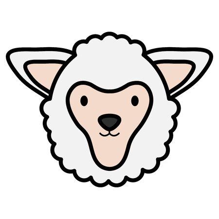 cute sheep head childish character