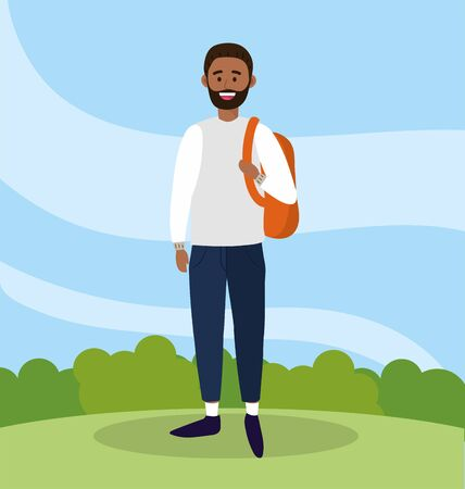 university man with beard and backpack to study vector illustration